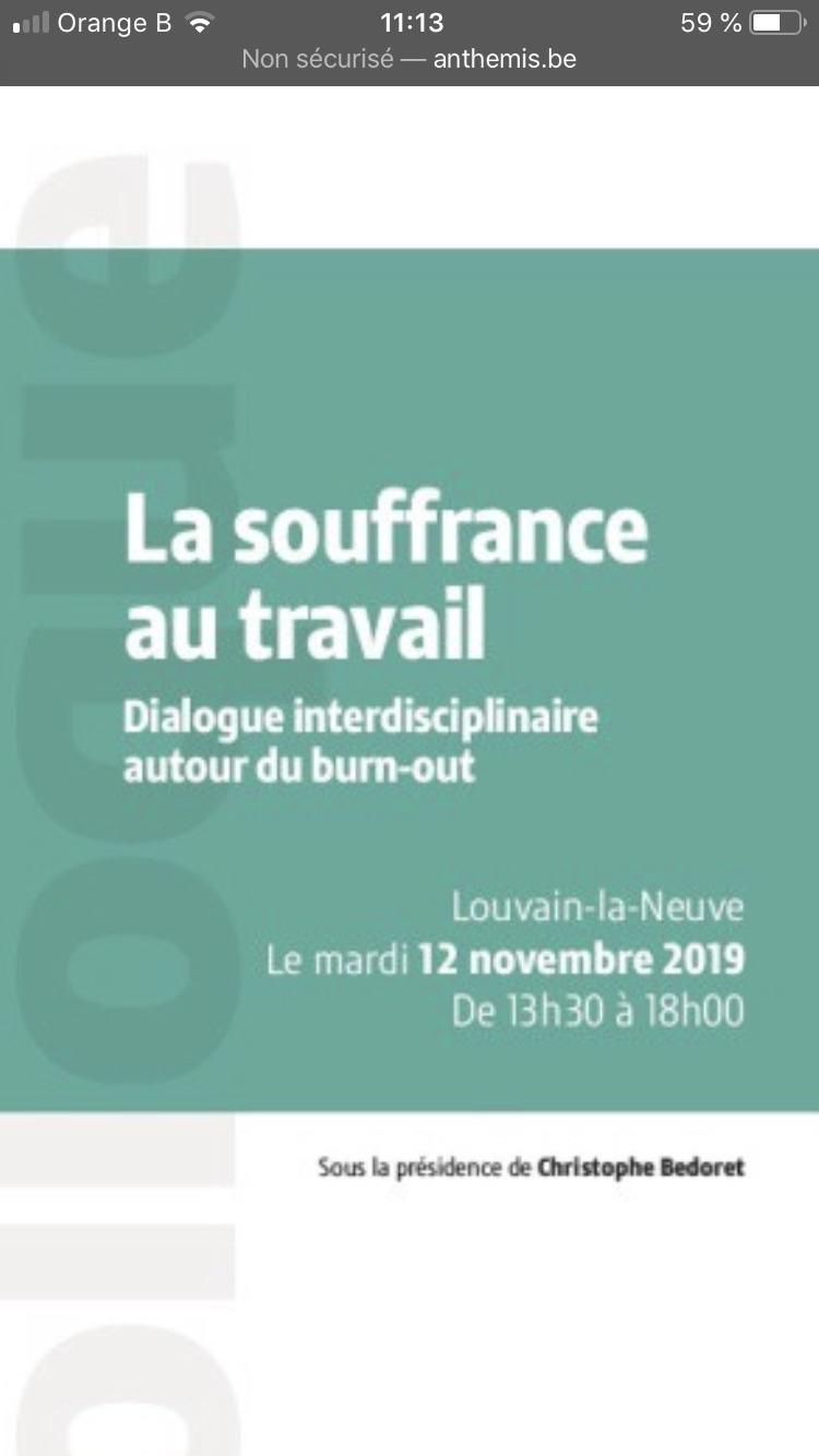 La Souffrance au travail - colloque 12 novembre 2019 - Louvain-la Neuve